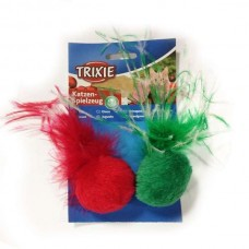 Trixie Xmas cat toy balls with feathers