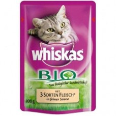 Whiskas Bio with three kinds of meat in a fine sauce 100g